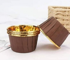 Aluminum Foil Paper Mini Cake Baking Cups Muffin Cupcake Baking Mold Cup Liners Baking Cups for Party Wedding Festival Brown in Gold