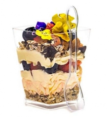 5oz Clear Square Plastic Dessert Cups with Spoons - Great For Chocolate , Desserts , Appetizers , Parfait, Puddings, Tastings & More!