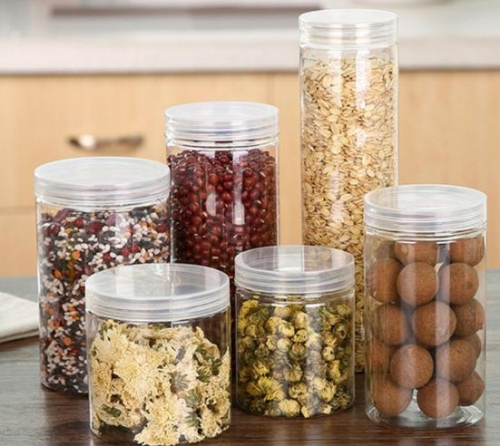 Clear Round PET Plastic Jars with Air Tight Lid