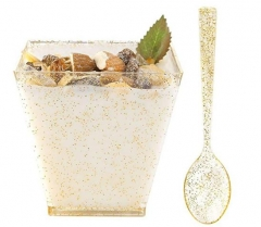 CH24 Gold Glitter Plastic Dessert Cups With Spoons Wine Goblet Glasses